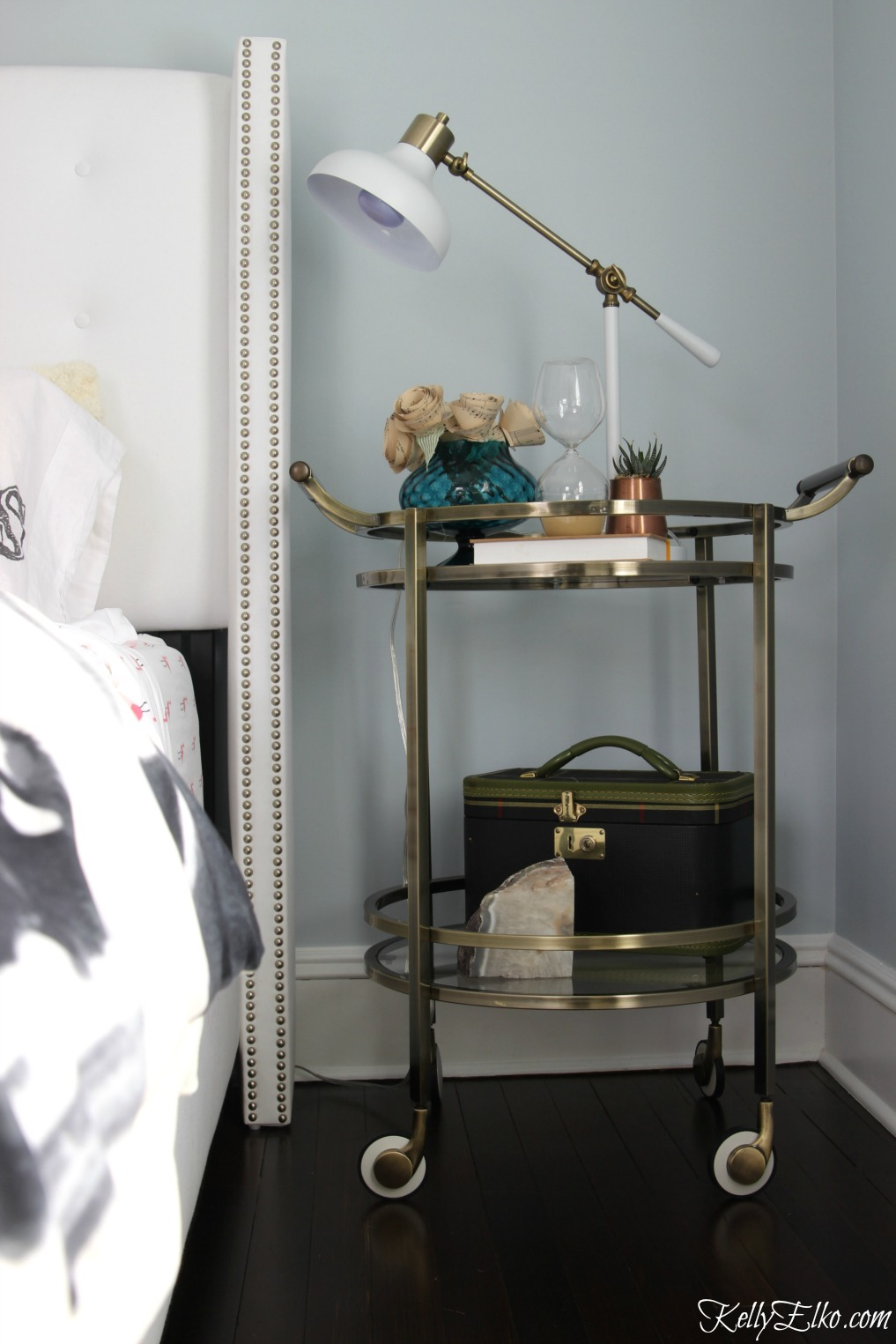 Love this bar cart turned nightstand kellyelko.com