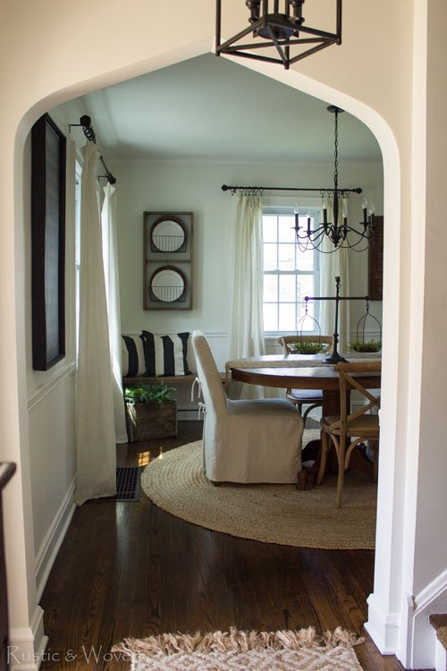 Arched doorway into the dining room