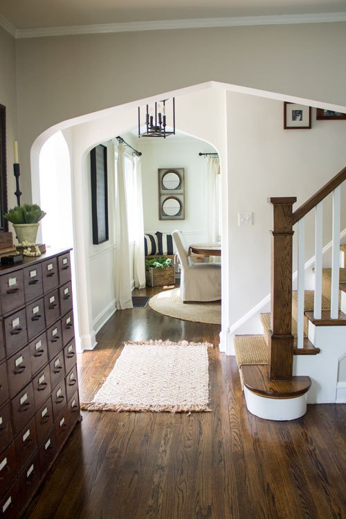 Neutral home tour - love the wood staircase