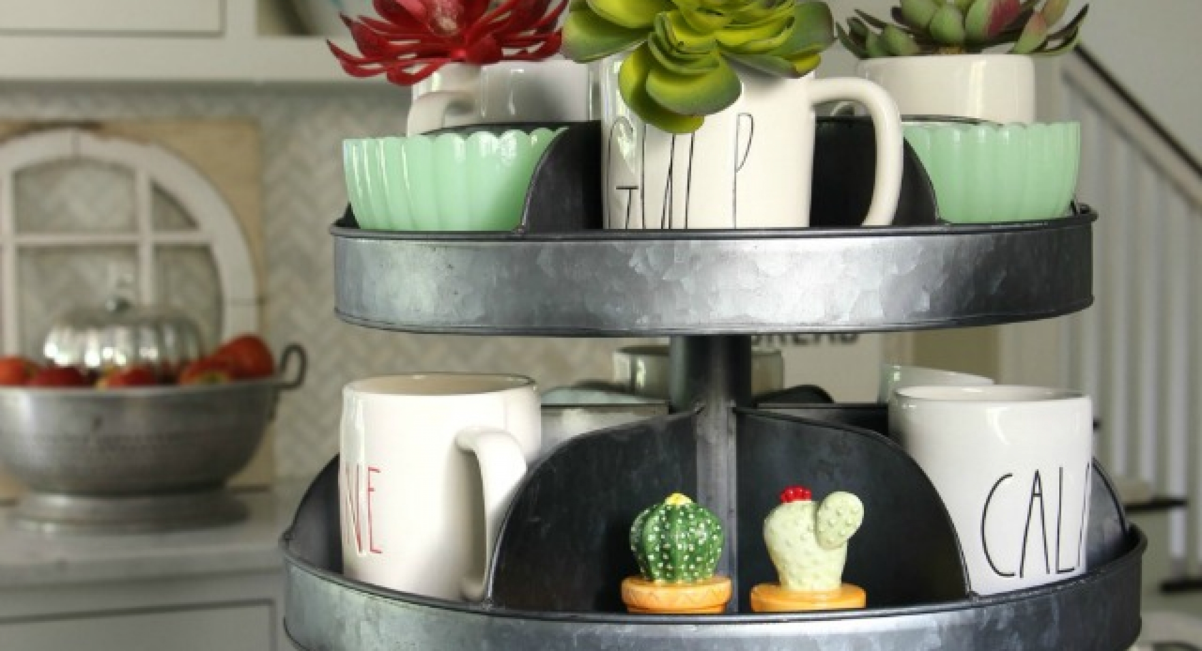 industrial-tiered-tray-kitchen-rae-dunn-mugs