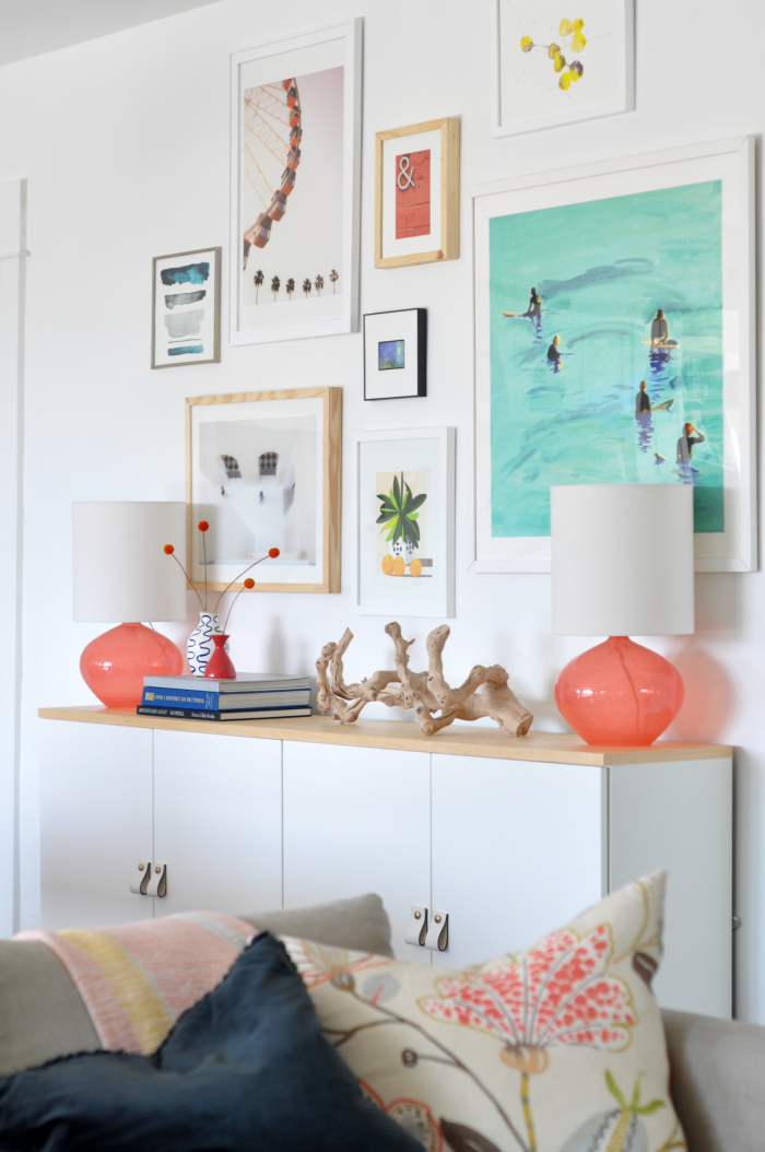 Love this colorful gallery wall in the dining room