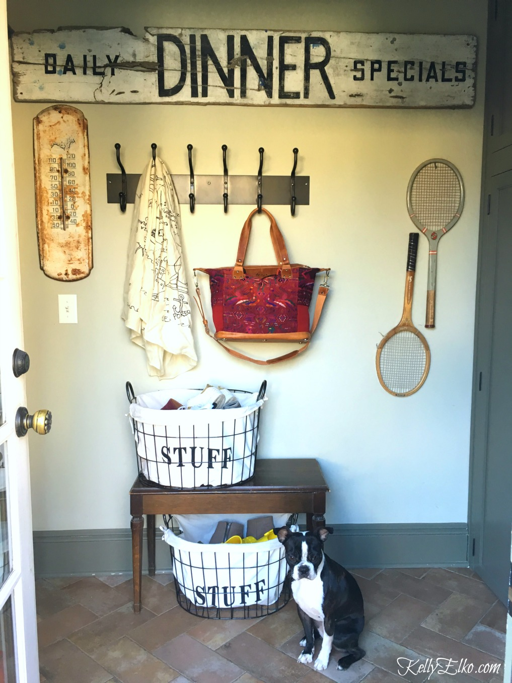 Conquer Clutter in the Mudroom with Cute Baskets kellyelko.com