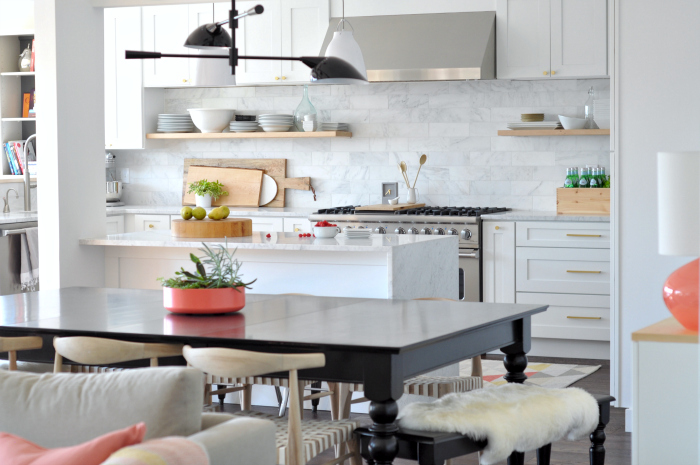 Gorgeous white marble kitchen with floating shelves