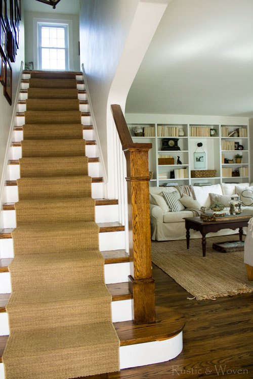 Textured stair runner and neutral home tour kellyelko.com