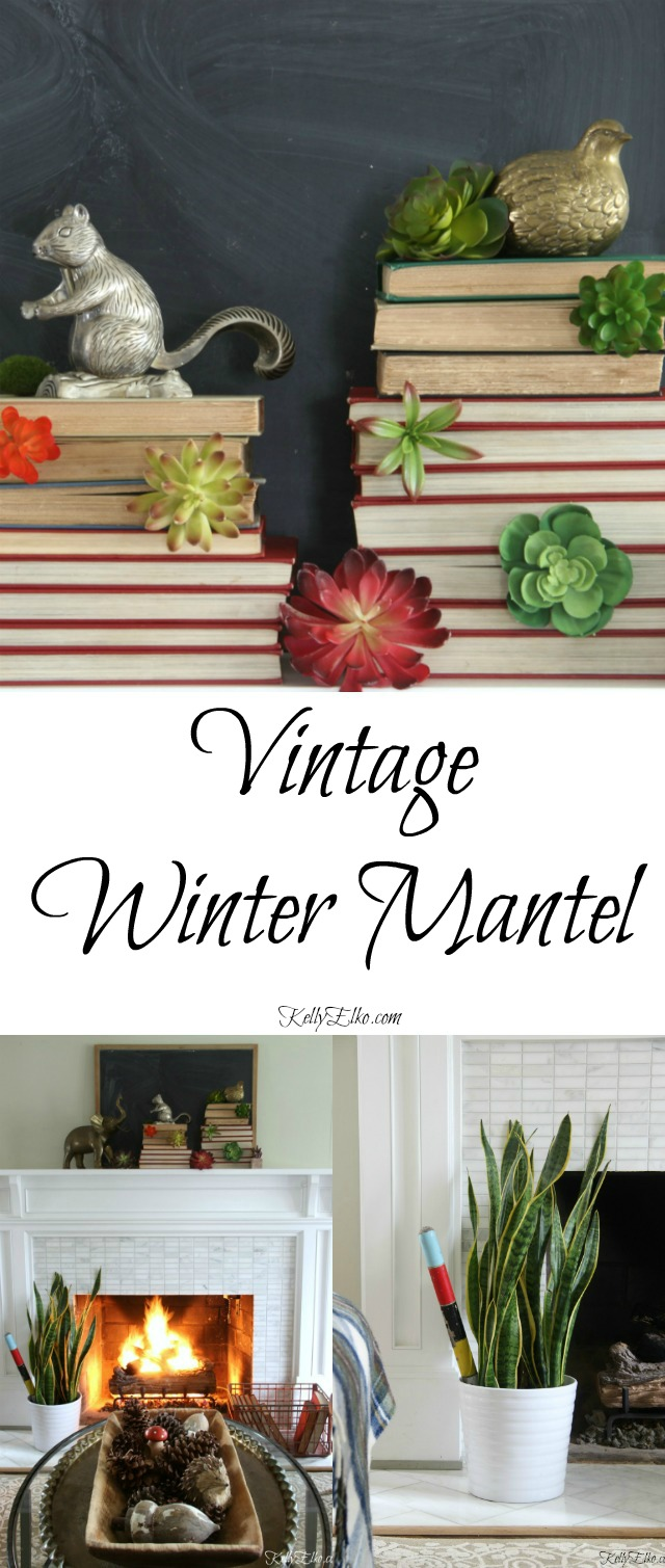 Vintage Winter Mantel - this is stunning with the succulent book tower kellyelko.com
