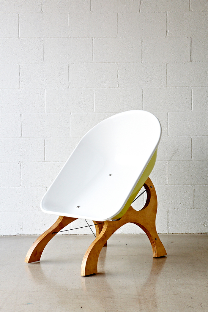 Modern wheelbarrow chair