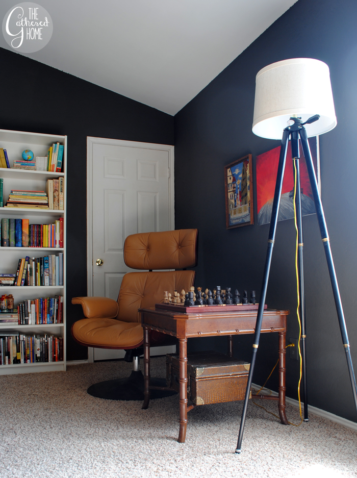 Black paint in a home office