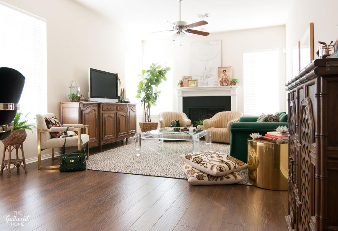 Boho living room with thrift store finds