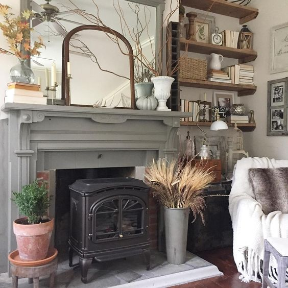 Original old mantel in a gorgeous shade of gray kellyelko.com