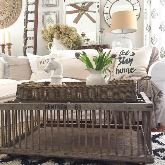 Love this old chicken crate turned coffee table in this 1850 farmhouse kellyelko.com