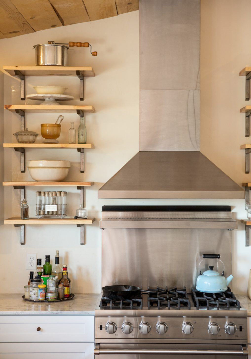 Wood and metal open kitchen shelves