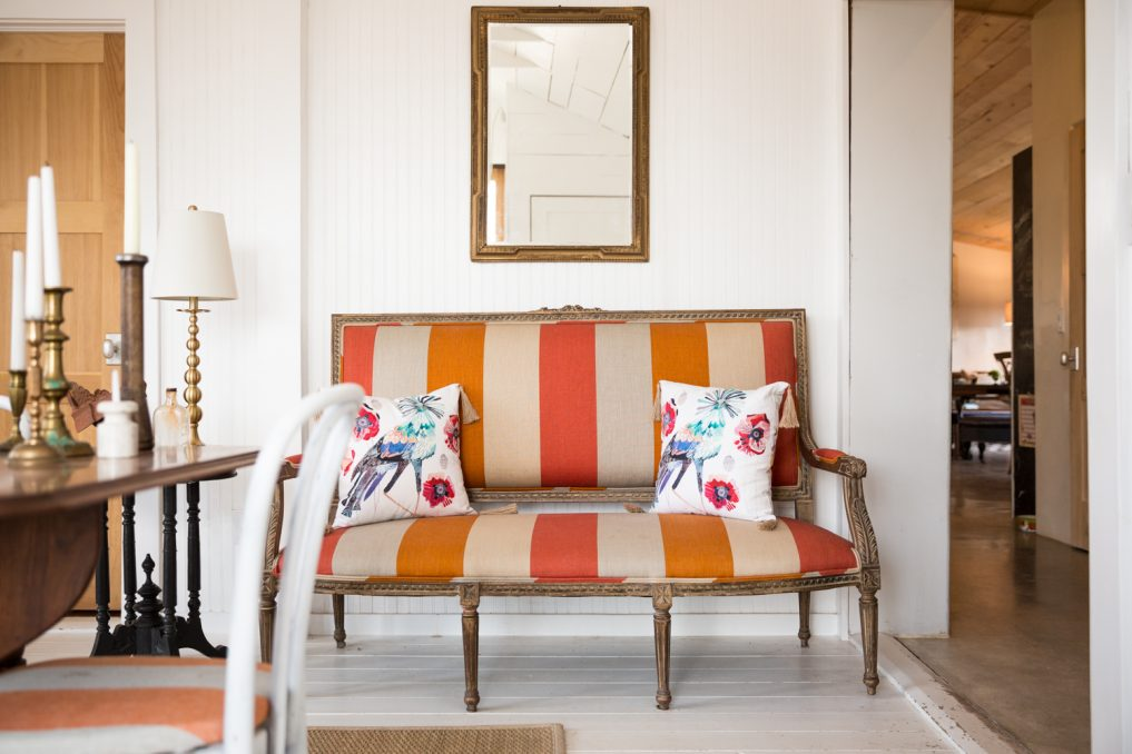 Orange striped settee