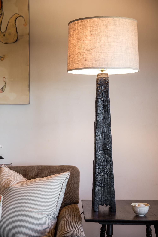 Charred wood lamps
