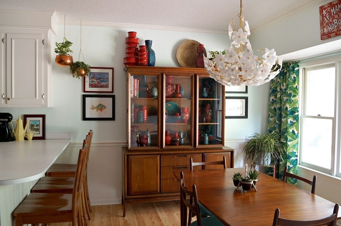 Danish modern dining room furniture and a pottery collection