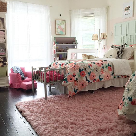 Adorable pink and green girls bedroom - love the shutter headboard kellyelko.com