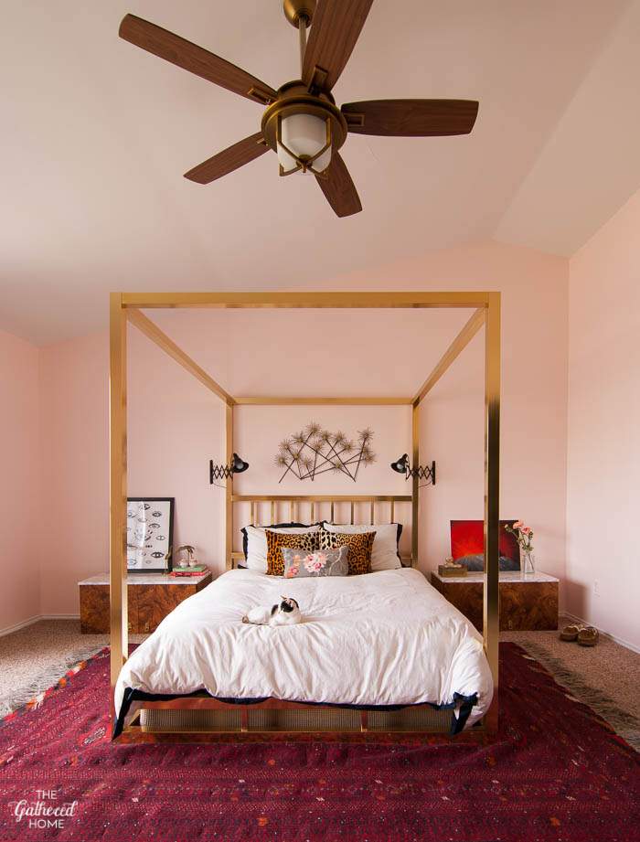 Love this vintage brass four poster bed