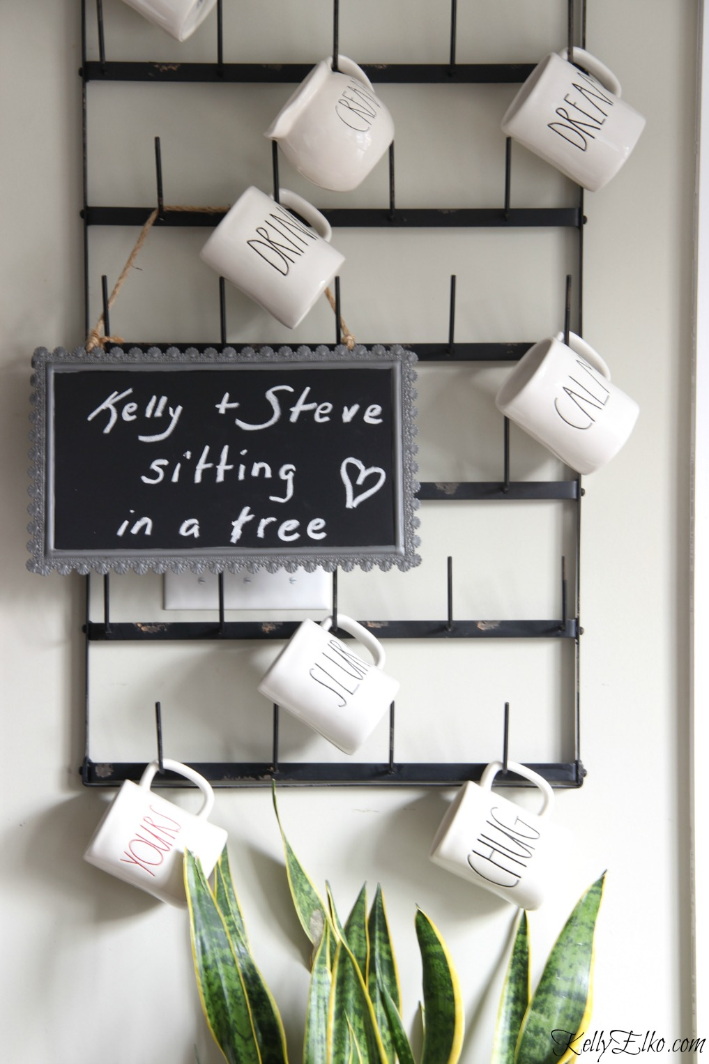 Love this huge wall mounted bottle drying rack for displaying a mug collection kellyelko.com