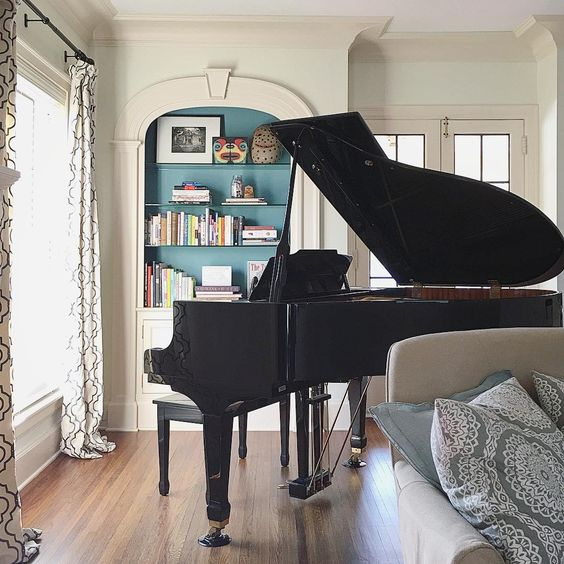 Grand piano in the corner of this gorgeous living room kellyelko.com