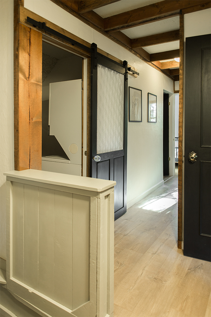 Sliding barn door in the laundry room