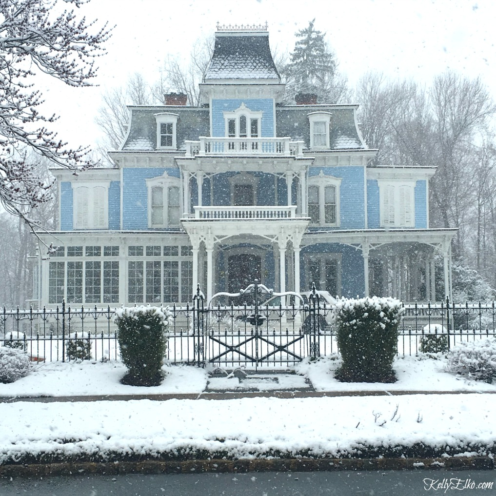 Beautiful old Victorian home in blue! Love the architecture and details kellyelko.com #victorian #oldhomes #oldhouses #curbappeal #bluehouse #bluehome #winterhome #letitsnow #kellyelko