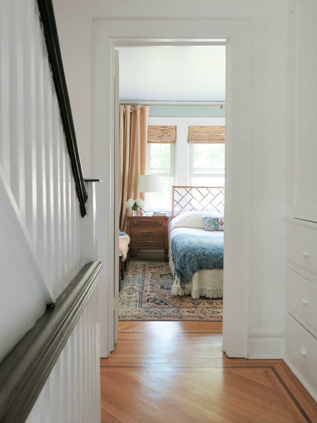 Old home tour with original hardwood floors on the second floor