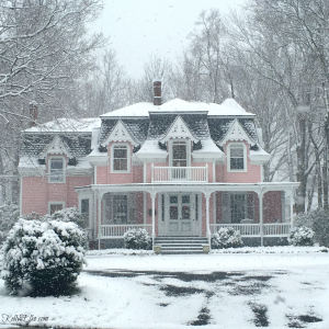 Houses in the snow - love this pink Victorian home kellyelko.com