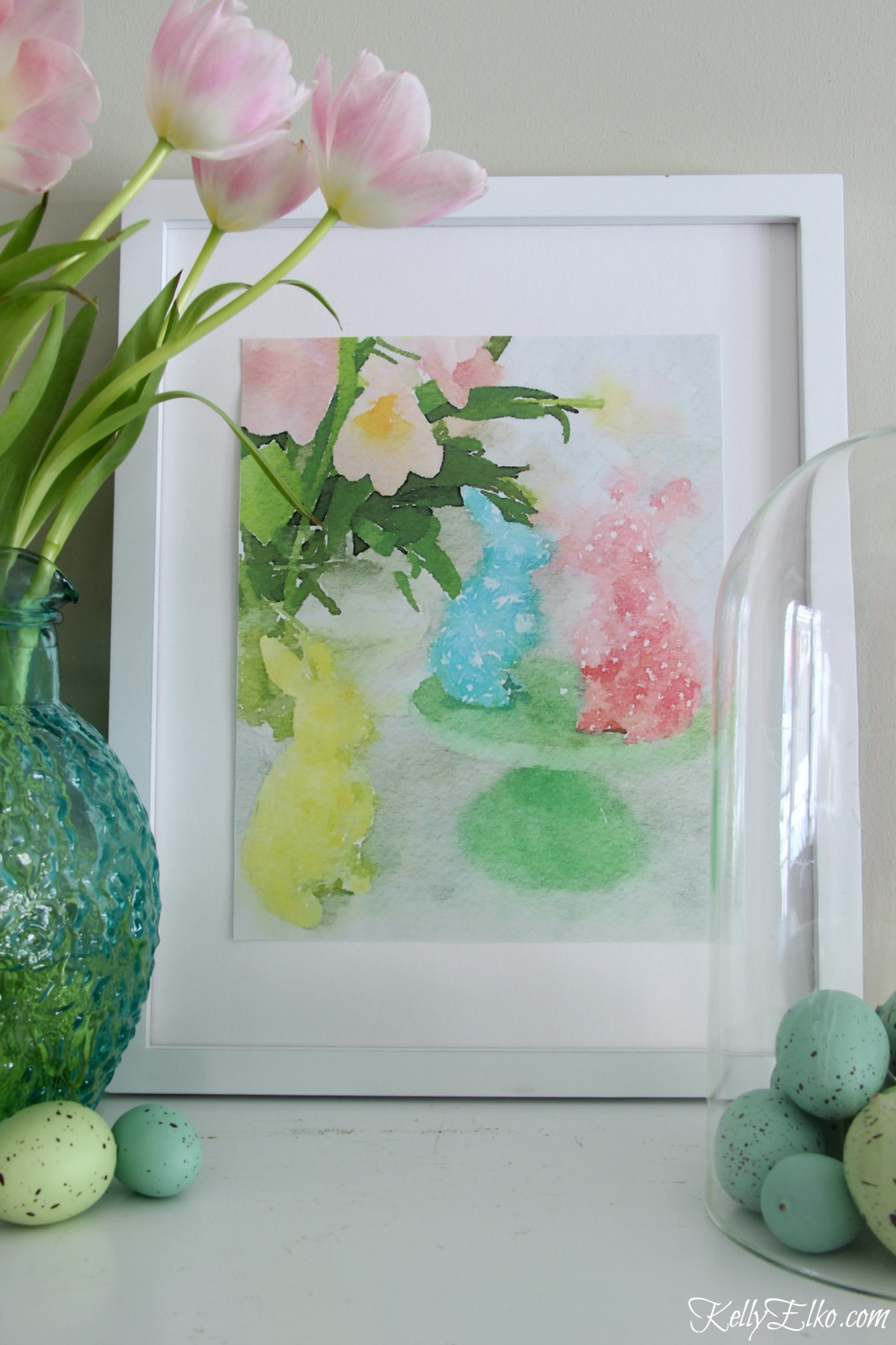 Free Printables for Spring including this adorable watercolor bunnies printable kellyelko.com