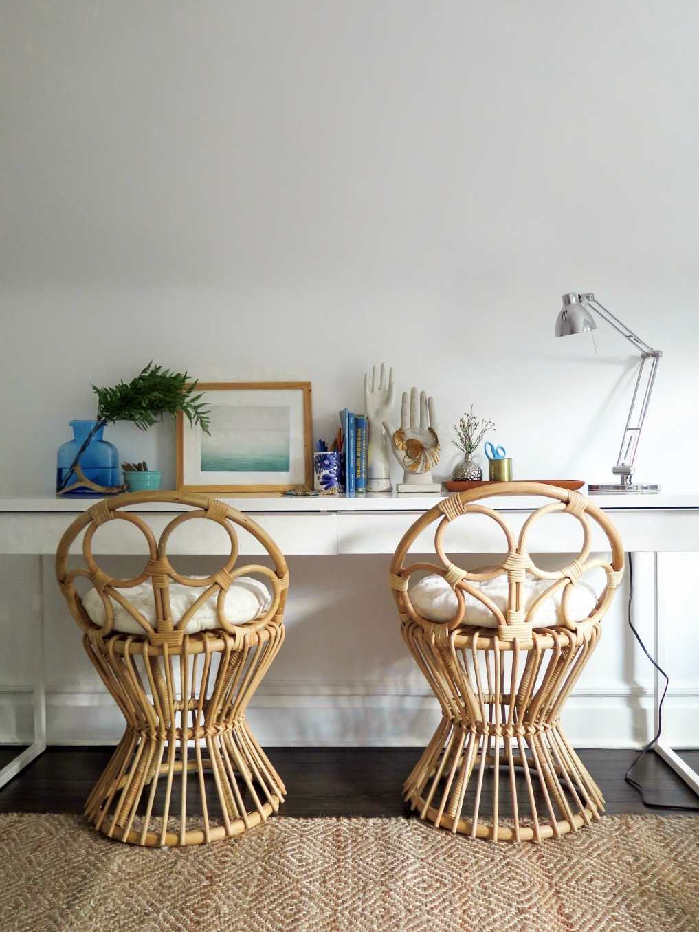 Rattan desk chairs