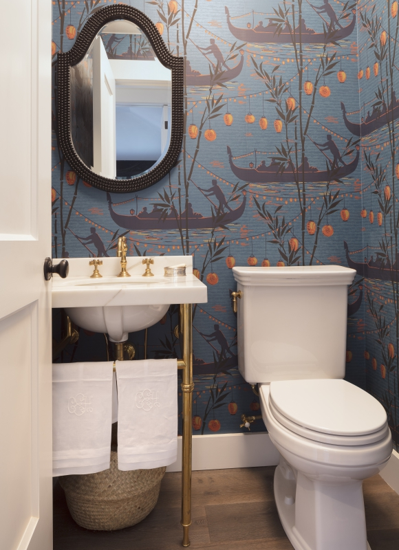 Small powder room with dramatic blue Asian wallpaper