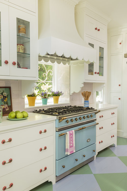 Wow - love the blue stove with a window instead of a backsplash