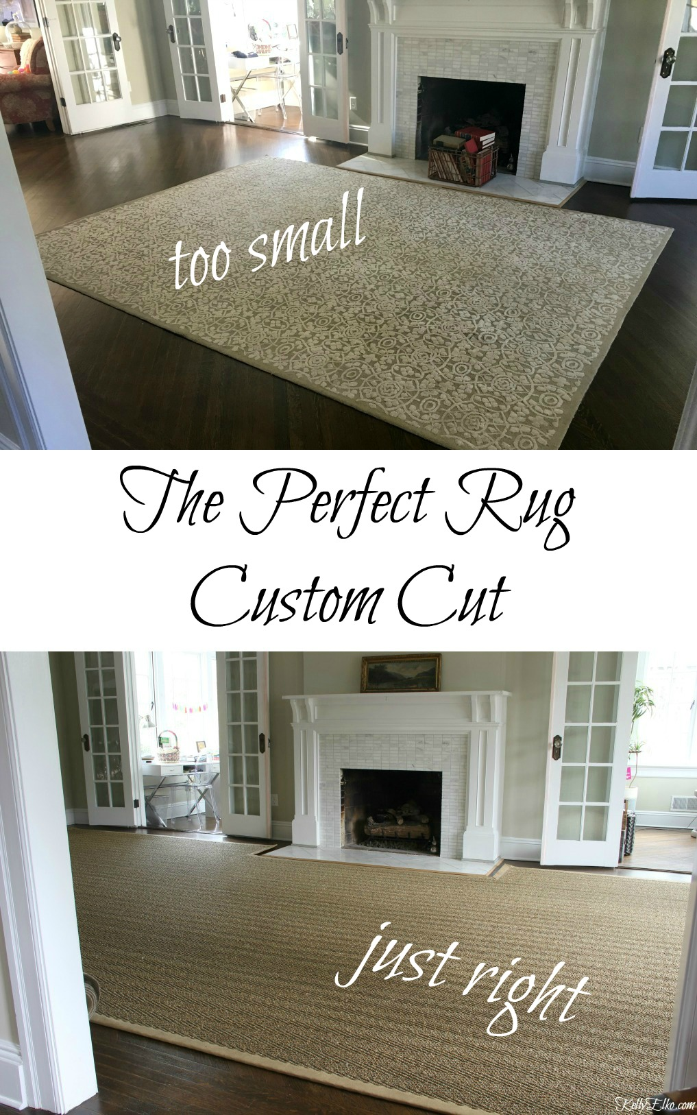 Designer Trick - get a rug custom cut to fit your room kellyelko.com #rugs #customrug #decorating #homedecor #rug #hardwoodfloors #customdecor #decoratingtips