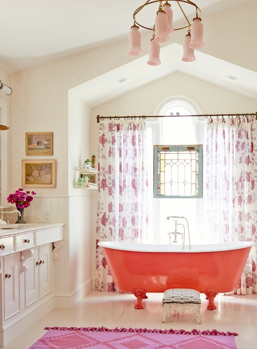 Gorgeous bathroom with red claw foot bathtub