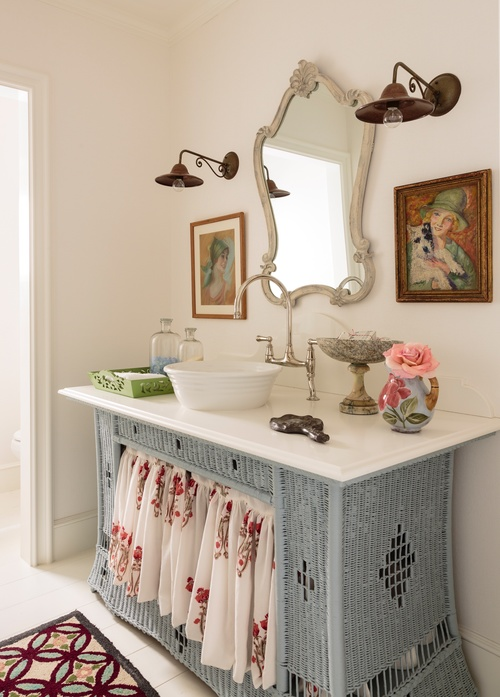Wicker dresser turned bathroom vanity