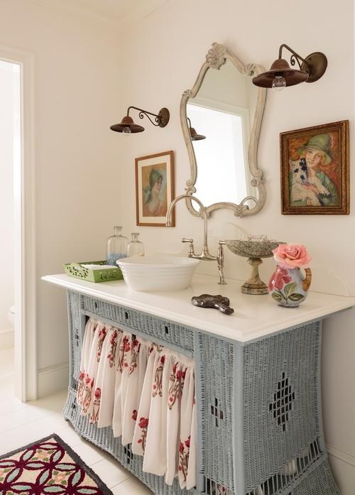 Wicker dresser turned bathroom vanity