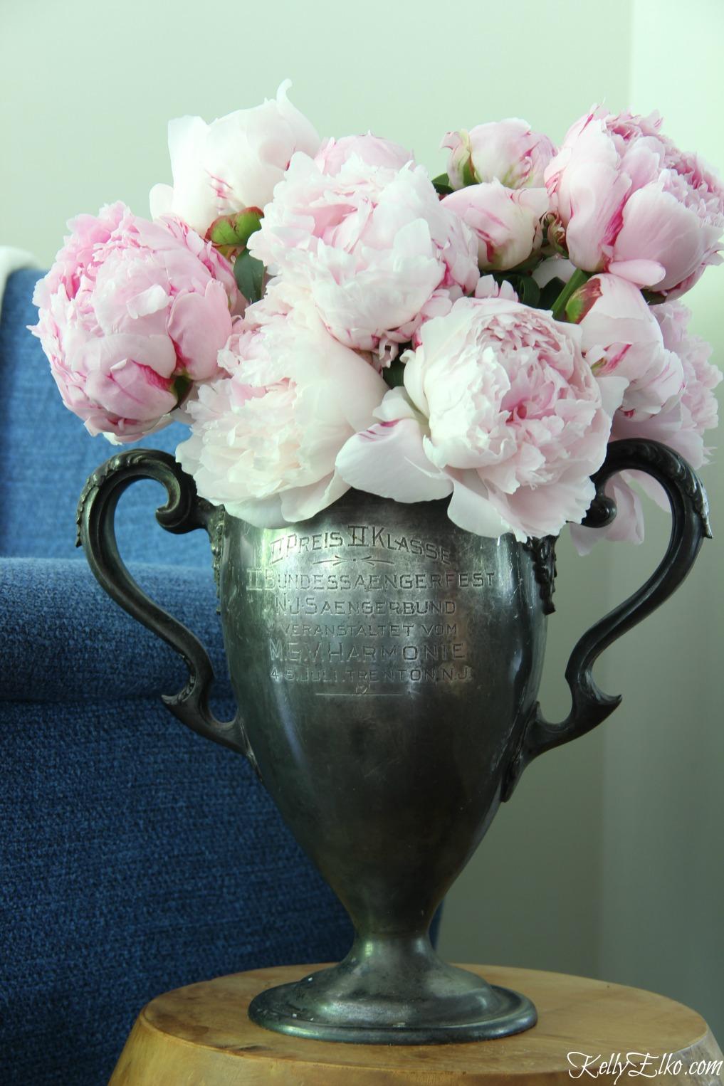 Pink peonies in an antique trophy! kellyelko.com