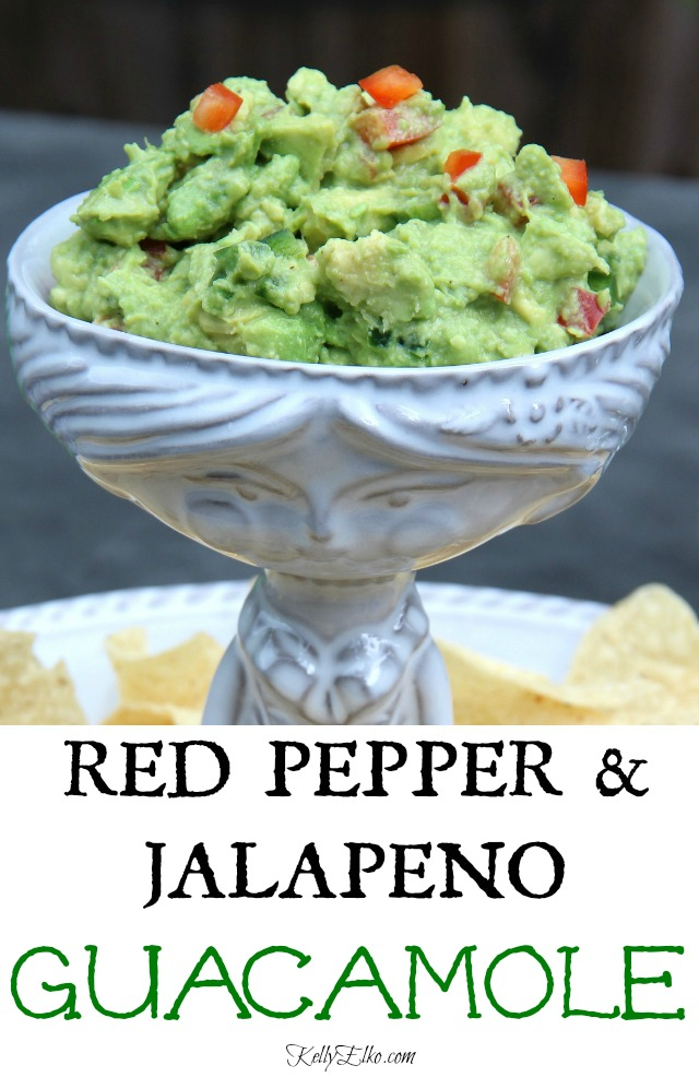 Red Pepper Jalapeno Guacamole Recipe - an unexpected twist on a classic! kellyelko.com
