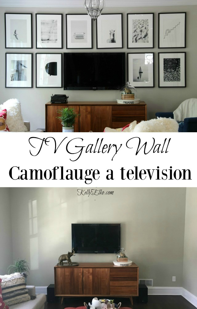 Camoflauge a television with a TV gallery wall grid - love the art she chose kellyelko.com