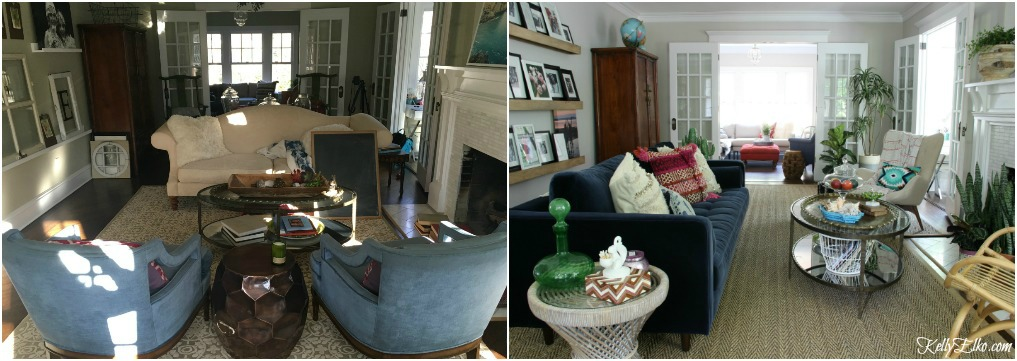 Living Room Before After Photos - what a dramatic difference furniture placement makes! kellyelko.com