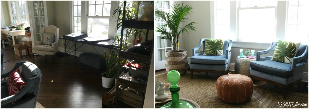 Living Room Before and After - what a dramatic difference furniture placement makes! kellyelko.com