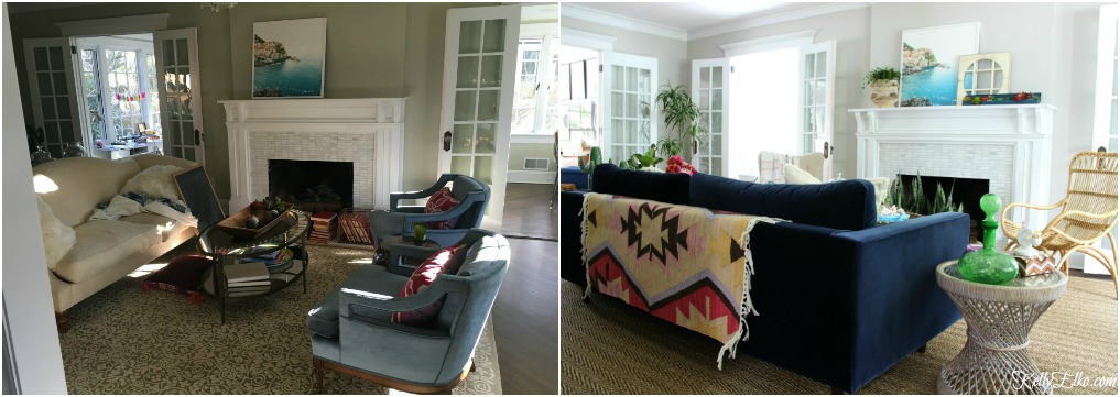 Living Room Before and After - what a dramatic difference furniture placement and the right size rug makes! kellyelko.com