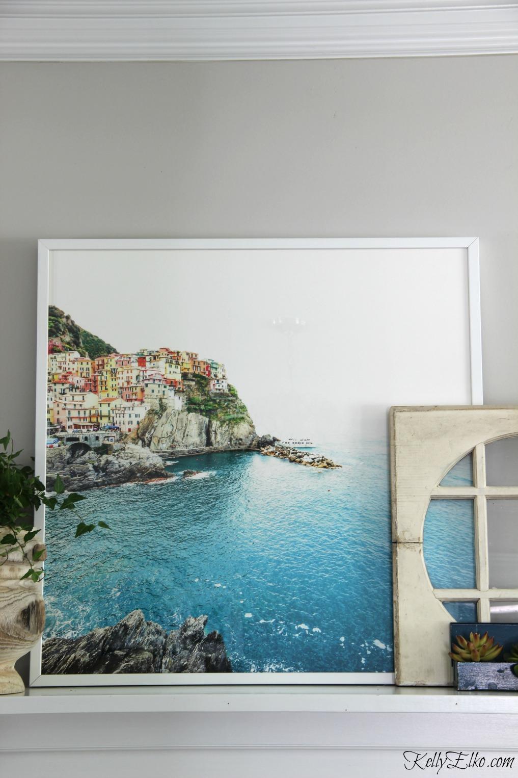 Cinque Terra Italy art on a mantel kellyelko.com