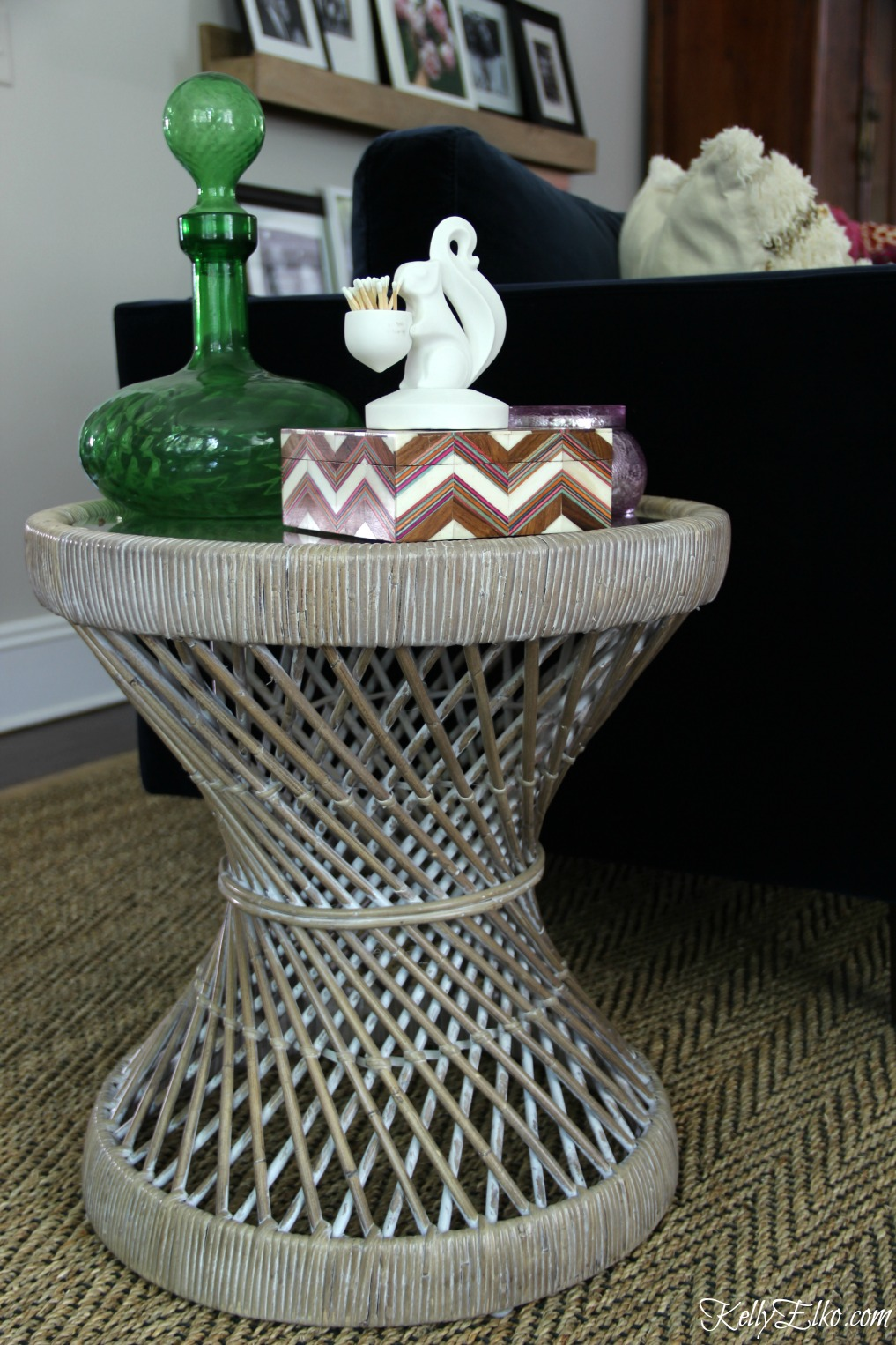 Love this round rattan side table kellyelko.com