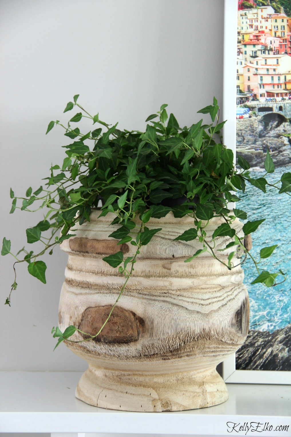 Love the texture of this raw wood planter with trailing ivy kellyelko.com