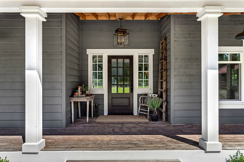 Farmhouse porch - love the gray paint color kellyelko.com