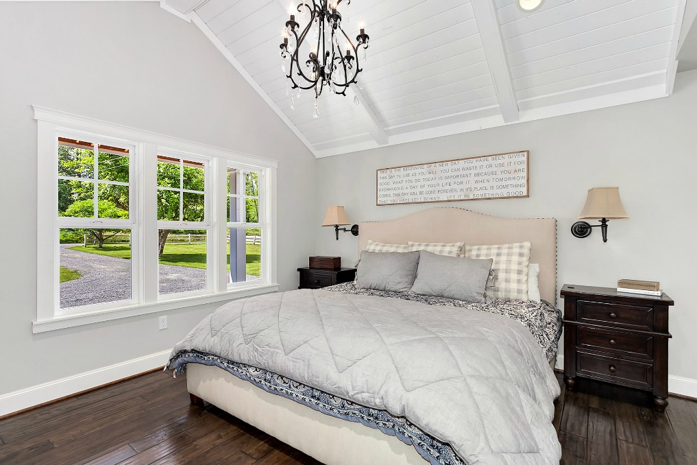 Neutral master bedroom - love the high ceilings kellyelko.com