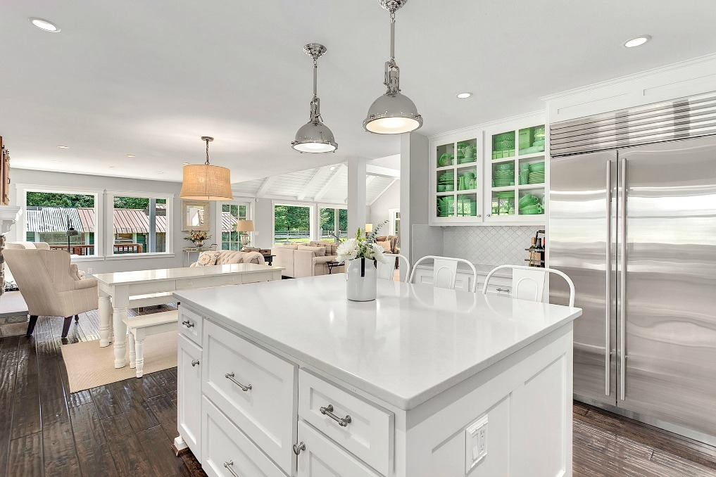 White kitchen with jadeite collection kellyelko.com