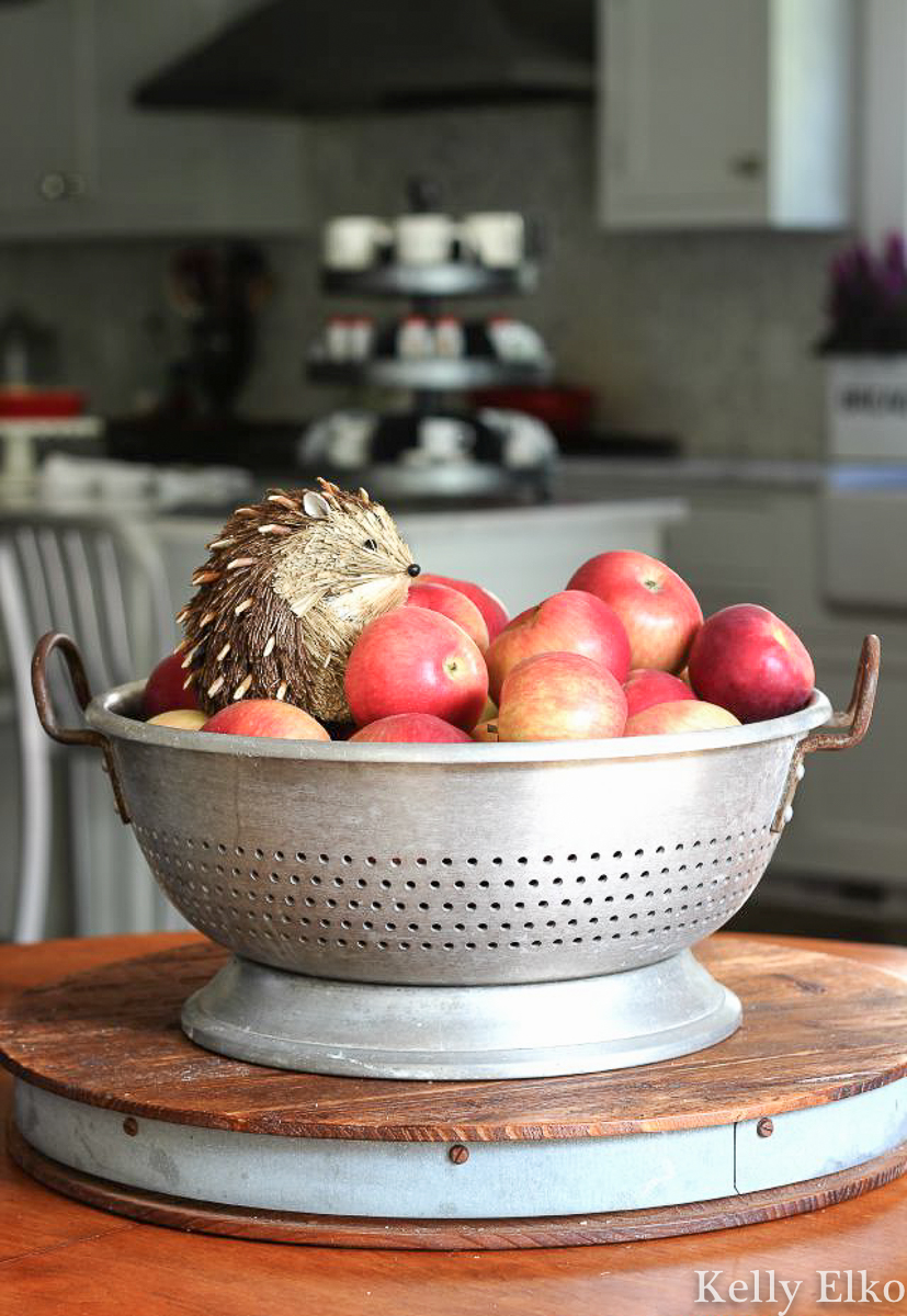 Love this idea for fall decorating - fill a bowl or vintage colander with apples and a cute little critter kellyelko.com