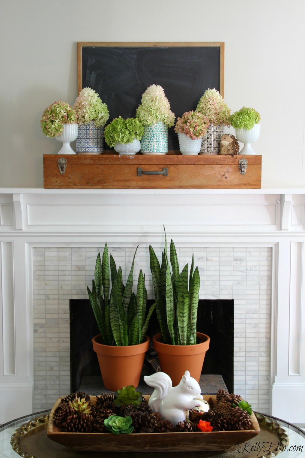Gorgeous fall mantel hydrangeas - love the vintage finds and plants kellyelko.com