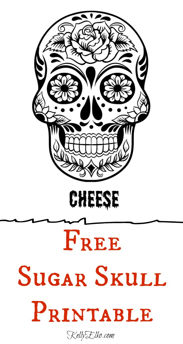 Free Day of Dead Printable - Grinning Sugar Skull Says Cheese! kellyelko.com