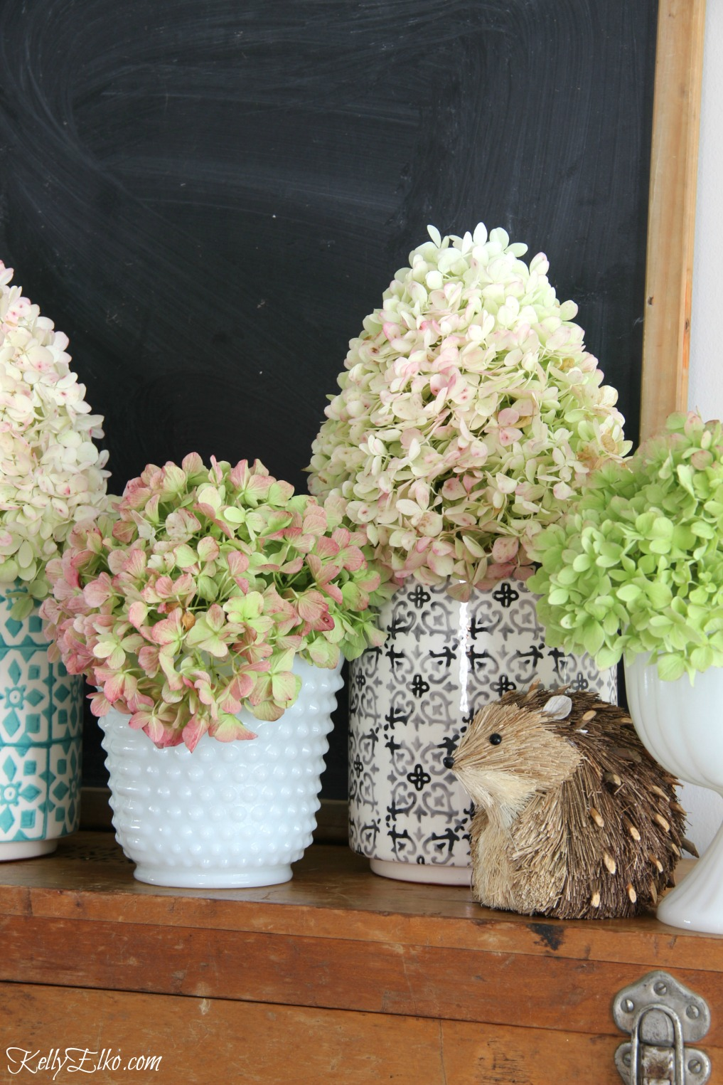 Hydrangeas in a variety of vintage and new vases kellyelko.com